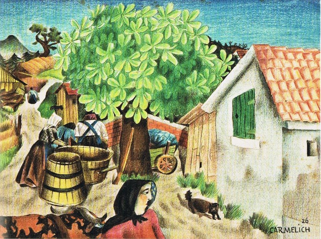 Giorgio Carmelich, L'aia, 1926, matite colorate su cartoncino, 27,5x37 cm
