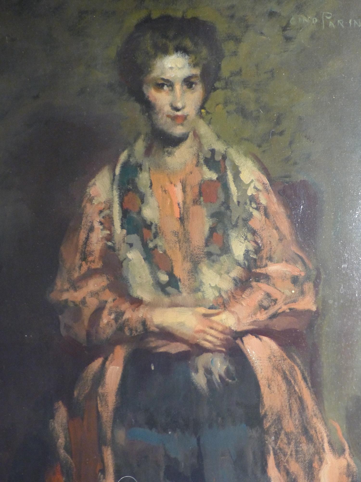 Gino Parin, Ritratto femminile, olio su tela, 1918-1922 circa, 70x50 cm, inv. 5235Restauro: Nevyjel Restauri d'Arte, Trieste 2019, grazie alla donazione di Maria Lanieri in memoria di Giorgio Lanieri e Giusy Romeo.